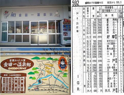 金田一温泉駅と観光案内図