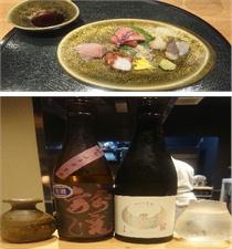 御造りの盛合せと日本酒